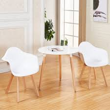 white round glossy dining table and 2 dining chairs retro for small kitchen new