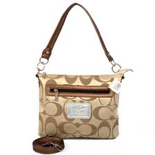 FashionBagTime Coach Zip In Logo Small Khaki Shoulder Bags CGA on sale.  Save Big
