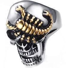 Mens <b>Punk</b> Biker Rings <b>Sugar</b> Skull Ring Skeleton <b>Stainless Steel</b> ...