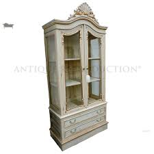 chippendale glass cabinet 2 door antique reion french ivory and gold