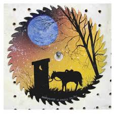 saw blade art painting. free images to paint on sawblades | sawblade sunset with a horse and saw blade art painting