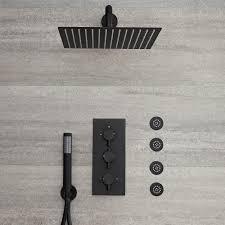 Nox Schwarze 3 Wege Armatur Mit 300x300mm Kopf Handbrause Und Körperdüsen