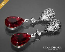 red crystal bridal earrings swarovski siam dark red teardrop earrings wedding bridesmaid red earrings chandelier earrings prom red jewelry 30 90 usd