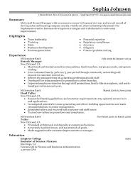 Branch Manager Resume Sample