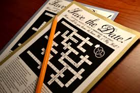 Personalized Save The Date Crossword Puzzle Card for Couples.