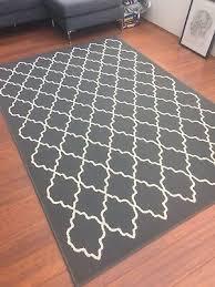 ikea low pile hovslund dark grey patterned rug 160x230 cm