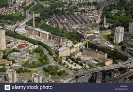 aerial view of dean clough mills in halifax stock image