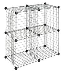 whitmor storage cubes stackable interlocking wire shelves black set of 4