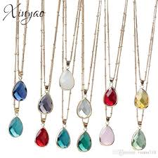 whole xinyao birthstone natural stone pendant necklace druzy quartz gem stone crystal diy charm necklace for women jewelry pendant necklace silver