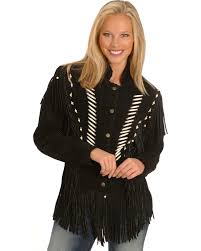 liberty wear bone bead fringe leather jacket plus black