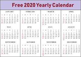 Free Printable Calendar 2020 Template In Pdf Excel Word