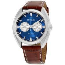 citizen eco drive men s bu4010 05l blue dial brown leather strap 44mm watch