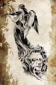 Tetování Anděl Hrající Na Housle Stock Fotografie Outsiderzone