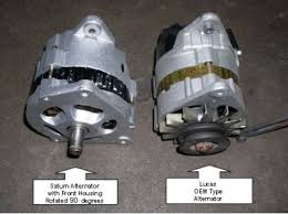 muenchausen s garage saturn alternator front housing rotated 90 degrees clockwise and lucas oem type alternator replace cooling fins and install v belt pulley to saturn