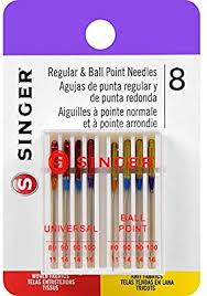 Singer 04800 Universal Regular Point And Ball Point Sewing Machine Needle Assorted Sizes 8 Count
