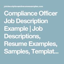 Compliance Officer Sample Resume Adorable Compliance Officer Job Description Example Job Descriptions