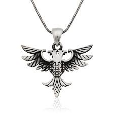 double headed eagle men s silver necklace ij1 1897 ic jewelry
