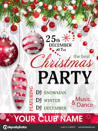 Template For Christmas Party Invitation Christmas Party Invitation Template Background Fir Branches Beads