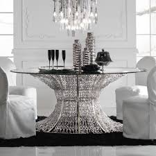 oval silver leaf smoked glass dining table