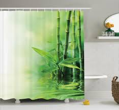 asian bamboo reflection on water anese decorative zen spa shower curtain set