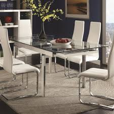 modern glass dining room tables. Coaster Modern Dining Contemporary Glass Table With Leaves - Fine Furniture Room Tables M