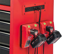 milwaukee ball bearing tool cabinet power strip and charger dock