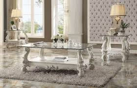 Table Sets For Living Room 3 Piece Acme Versailles Glass Top Coffee Table Set Bone White