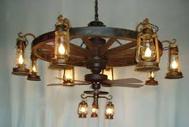 1 tier wagon wheel chandelier with old fashioned lanterns and artistic ceiling fan realistic 9