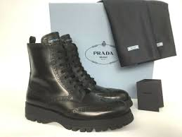 prada black leather lace up side zip combat biker ankle boots 39 5 9 5