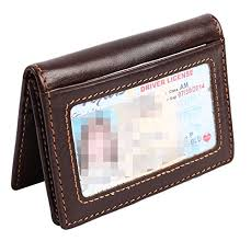 Genuine Leather Expandable Credit Card Id Business Card Holder