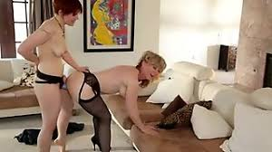 Breathtaking strap on amusement with drunk mature chick in control top hose
