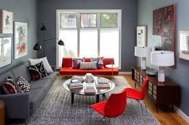 living room color schemes red and gray color scheme serge mouille three arm rotating floor lamp