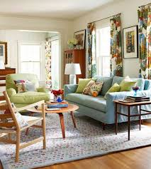 casual decorating ideas living rooms. Blue Sofa And Small Wooden Round Coffee Table Using Floral Printed Curtain For Casual Living Room Decorating Ideas Rooms T