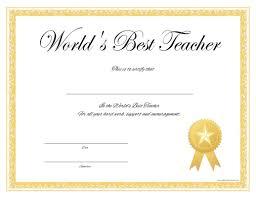 Certificates Printable Worlds Best Teacher Certificate Free Printable