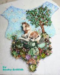 Becky Griffith. | Bead art, Beaded embroidery, Pearl embroidery