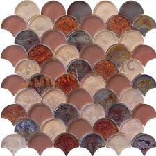 fan shaped purple glazed glass mosaics glass tiles bathroom wall mosaic tiles mg fnp047