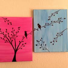 love birds painting acrylic painting canvas art pink blue background birds silhouette wall decor birds on on bird silhouette wall art with love birds painting acrylic painting from preethiart canvas