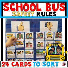 School Safety Rules Chart School Bus Safety Rules Pocket Chart Sort Beginning Of The