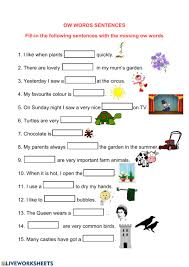 Choose the word that has a particular sound. Ow Words Fill In Worksheet
