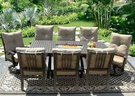 large size of round outdoor dining table with fire pit in middle