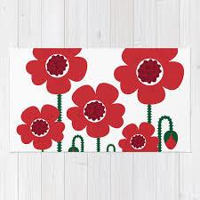 red poppy designers flowers rug