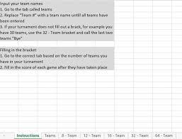 Double Elimination Tournament Bracket Excel