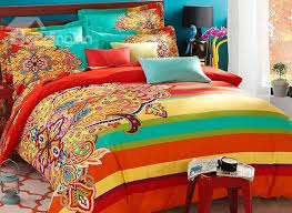 bright colored bedding for adults.  Adults Luxurious Retro Ethnic Style Colorful 4Piece Cotton Duvet Cover Sets And Bright Colored Bedding For Adults Funkthishousecom