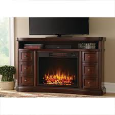 home decorators collection charleston 60 in tv stand electric fireplace in brown bsf 1733 the home depot