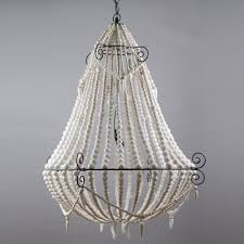 large boho white beaded chandelier