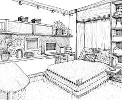 Bedroom Interior Design Drawing Drawings Pinterest Drawings