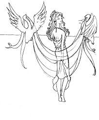 Aphrodite With Two Birds Coloring Page Kids Play Color