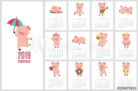 Yearly Calendar Planner Template Calendar 2019 With Cute Pig Funny Cartoon Pigs Diary Vector