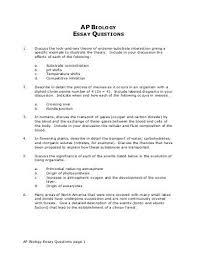 a biology final exam essays nnhsbergbio ap biology essay questions