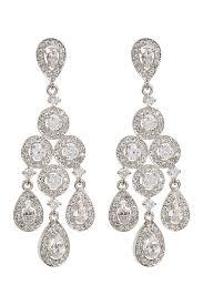 image of nadri framed round crystal chandelier earrings